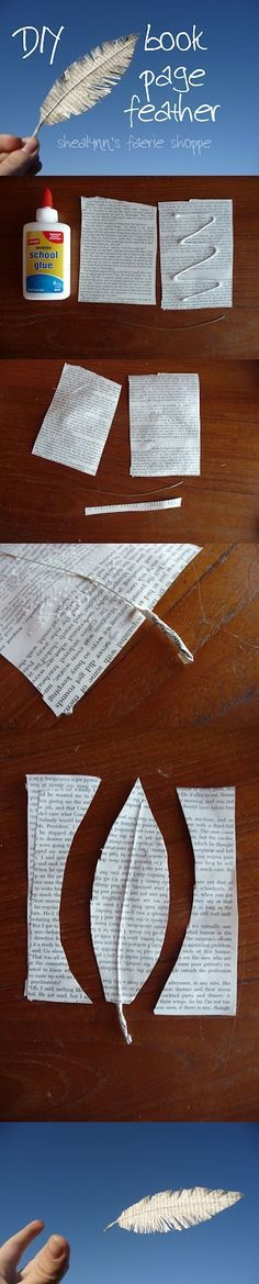 Book page feather tutorial. Could be made with other papers, too... like those pretty origami papers.