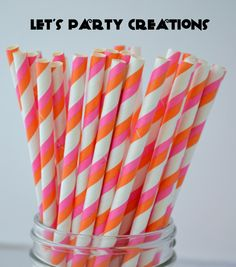 Pink and Orange Paper Straws, 25 Pink and Orange Double Striped Paper Straws,Cake Pops, Pink and Orange Weddings,Pink Baby Shower, DIY Flags by LetsPartyCreations on Etsy https://www.etsy.com/listing/164982493/pink-and-orange-paper-straws-25-pink-and