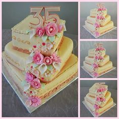 Elegant flower waterfall birthday cake