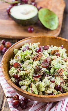 Avocado Sonoma Chicken Salad with red grapes and pecans. A ripe avocado creates most of the creaminess for this healthy chicken salad.