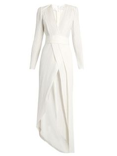 V-neck pleated gown    Galvan   MATCHESFASHION.COM UK