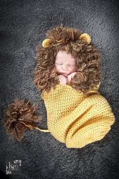 León Cocoon - fotografía Prop, ganchillo León, León infantil amarillo