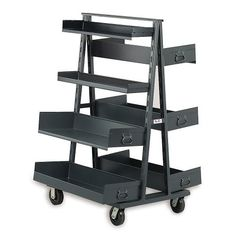 "VALLEY CRAFT Vari-Tuff A-Frame Trucks - Gray by Vari-Tuff. $467.00. VALLEY CRAFT Vari-Tuff A-Frame Trucks can be easily configured to aid in lean manufacturing or point-of-use handling or assembly. Eases storage, sorting, and distribution of parts and supplies. All-welded steel units are available in either a single- or double-sided configuration. Single-sided trucks hold (7) 6""H trays; double-sided trucks hold (14) 3""H trays per side. All trucks roll on 5"" phenolic ca..."