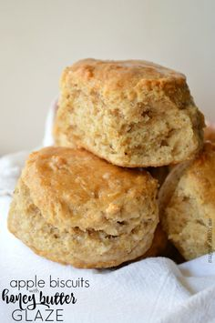Apple Biscuits with Honey Butter Glaze are tender and slightly sweet; the perfect way to start your fall day! These biscuits are great for breakfast or dinner!