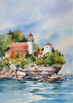 Gallery – Bridget Austin Art with artists Colorful Art, Art Painting, Landscape Paintings, Lighthouse Painting, Watercolor Pictures, Art Drawings, Painting, Watercolor Landscape Paintings, Art