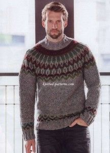 Inspired by the fifties: the pullover knit in gray tweed yarn, sports a Norwegian pattern yoke and mock turtleneck. Fair Isle Knitting Patterns, Sweater Knitting Patterns, Knitting Designs, Hand Knitting, Mens Knit Sweater Pattern, Nordic Sweater, Men Sweater, Pull Jacquard, Icelandic Sweaters