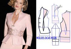 Observe e analise a transformação do molde casaco rosa que proponho nesta publicação com a devida atenção. No blogue existem bases de casaco larga, semi-larga e justa. Neste caso deve usar a base just