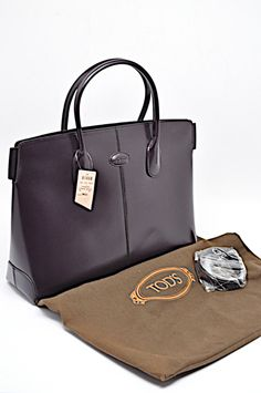 78782c80a08 TOD S Wine LEATHER Tote Bauletto Bag w Removable Strap 15.5