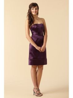 Satin Strapless Delicately Pleated Bodice Knee-Length Bridesmaid Dress