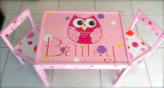 Personalized Name and Owl Play Table and 2 Chairs for Children 1 and up (Pink Set) Kids Table And Chairs, Play Table, Kid Table, Painting Kids Furniture, Hand Painted Furniture, School Auction Projects, Owl Kids, Toddler Furniture, Red And Teal