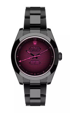 Black Milgauss Aftershock With Pink Detailing by Bamford Watch Department for Preorder on Moda Operandi