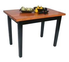 John+Boos+Le+Classique+Cherry+Butcher+Block+Table+w/+Black+Legs+-+7+Sizes at http://butcherblockco.com