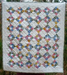 Postage stamp nine patch baby quilt  1930's  Aunt Grace fabrics