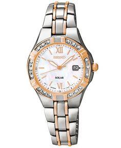 Seiko Women's Solar Diamond Accent Two-Tone Stainless Steel Bracelet Watch 27mm SUT146 - Women's Watches - Jewelry & Watches - Macy's