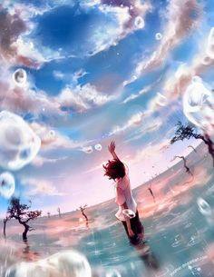 夢 anime, sky, rain, blue, illustration Art Manga, Manga Drawing, Illustration Manga, Digital Illustration, Manga Illustrations, Yuumei Art, Graphisches Design, Estilo Anime, Anime Artwork