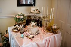 What a beautiful cake display table! Wedding Reception at the Harpeth Room by Loveless Events.
