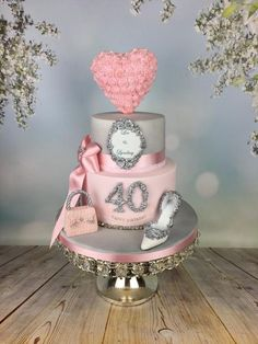Romantic pink and silver engagagement cake – cake by Melanie Jane Sowa – Geburtstagskuchen Elegant Birthday Cakes, 40th Birthday Cake For Women, Birthday Cake For Women Elegant, 40th Cake, Pink Birthday Cakes, Birthday Woman, 20th Birthday, Birthday Ideas, Girly Cakes