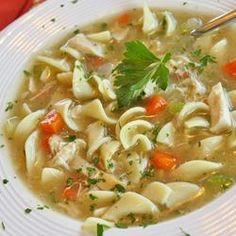 Grandmas Chicken Noodle Soup | Ive made this soup twice now and it is a keeper. Great in times of sickness! Egg noodles taste almost like a dumpling!! Love it!