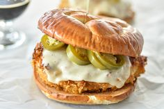 Oven-Fried Chicken Sandwiches with Beer-Pickled Jalapenos