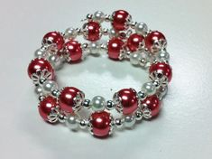 Dark Pink & White Glass Pearl Memory Wire Bracelet with Silver Plated Bead Caps and Spacer Beads