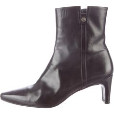 Pre-owned Stuart Weitzman Leather Almond-Toe Booties ($95) ❤ liked on Polyvore featuring shoes, boots, ankle booties, black, black leather boots, real leather boots, black boots, black zipper boots and black zipper booties