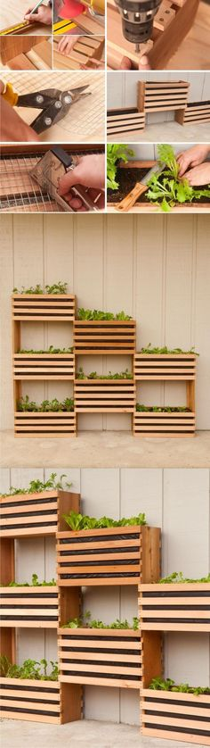 How to: Make a Modern, Space-Saving Vertical Vegetable Garden Excellent idea for indoor garden. Space-Saving Vertical Vegetable Garden gardening on a budget - All For Herbs And Plants Vertical Vegetable Gardens, Indoor Vegetable Gardening, Organic Gardening, Diy Vertical Garden, Vertical Plant Wall, Vertical Planting, Vegetable Planters, Veggie Gardens, Outdoor Projects