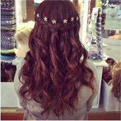 I want to do my hair in a waterfall braid with curls and flowers for my wedding day. I want the flowers in the braid though, not above. Very cute.
