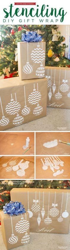 Cutting Edge Stencils shares how to stencil DIY gift wrap using Christmas Ornaments Stencil and Kraft paper.   www.cuttingedgest...