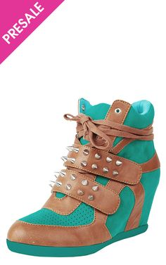 Studded sneaker wedges