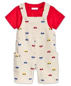 First Impressions Baby Boys Car-Print Shortall T-Shirt Set, Only at Macys Boys Summer Outfits, Cute Outfits For Kids, Baby Boy Outfits, Baby Boy Fashion, Toddler Fashion, Carters Baby Boys, Baby Kids, Baby Bling, Camo Baby
