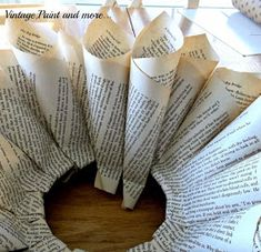 Book Page Wreath Tutorial - Vintage, Paint and more. Folded Book Art, Paper Book, Book Folding, Old Book Crafts, Book Page Crafts, Paper Crafts, Book Flowers, Paper Flowers, Christmas Crafts
