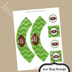 PRINTABLE Super Bowl Football Cupcake Wraps and by luvbugdesign, $5.00