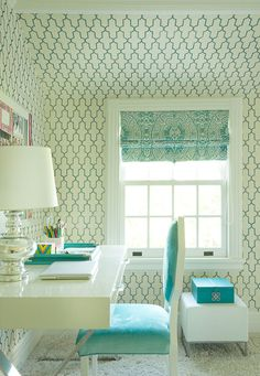 another view with Damask roman blind