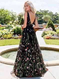 e6df1b8fe98 Unique Black Floral Embroidered Prom Dress V-neck Evening Dresses 2018 Formal  Dress Hot · Ulass · Online Store Powered by Storenvy