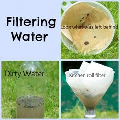 Filtering experiment, fun science investigation learning how to clean water with different types of filters. Environmental Science Projects, Science Projects For Kids, Science Activities For Kids, Preschool Science, Science Experiments Kids, Science Lessons, Stem Activities, Life Science, Science Ideas