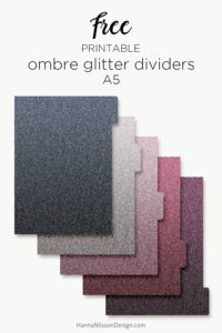 Ombre glitter planner dividers | A5 and personal size | #planner #printables #dividers #freeprintables #filofax