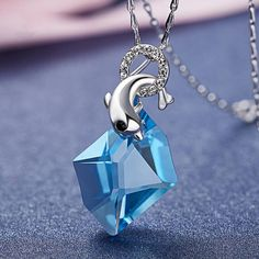 Dolphin Crystal Sterling Silver Necklace