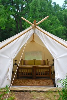 Camping Tent Rental - Event Tent Rentals - A fully furnished Standard Safari Tent at a private family event in Chicago, IL.