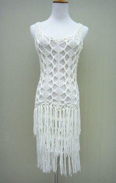 Hippie Fringe Dress Women Long Crochet Vest