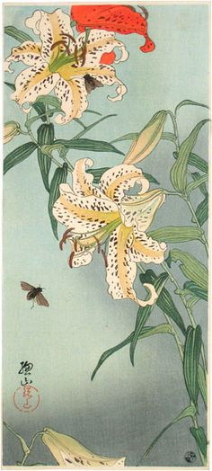 Ito Sozan, b. 1884 [fl. ca. 1919-1926  Lilies with bees  #art #Japan #Japanese #lilies #bees #flowers #painting