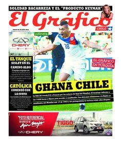 """Portada del diario El Gráfico del 4 de julio de 2013. """"Ghana Chile"""". La Sub 20 ya está en cuartos de final del Mundial de Turquía."""