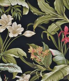 Screen Porch Fabric--Waverly Wailea Coast Sun N Shade Ebony Fabric