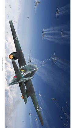 German jet firing on American heavy bombers The Effective Pictures We Offer You About Aircraft quotes A quality picture can tell you many things. You can find the most beautiful pictures that ca Ww2 Aircraft, Fighter Aircraft, Military Aircraft, Aircraft Engine, Luftwaffe, Air Fighter, Fighter Jets, Me262, War Thunder