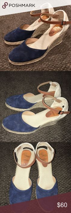 Anthropologie! Pinaz Navy espadrilles Wedges! Excellent condition! Leather upper shoes! Beautiful shoes, made in Spain! Check out my other listings! Bundle and save :) Anthropologie Shoes Wedges