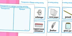 Transparent Or Opaque Sorting Activity