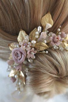 Bridal Comb, Bridal Headpieces, Hair Jewelry, Bridal Jewelry, Flower Headpiece, Floral Headbands, Floral Hair, Wedding Hair Accessories, Flowers In Hair
