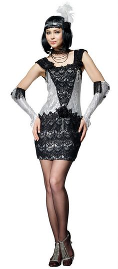 Women's Roaring 20's Silver & Black Flapper Costume - Candy Apple Costumes