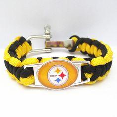 Paracord Bracelet Pittsburgh Steelers team sport fan Football Bracelets friendship Drop shipping