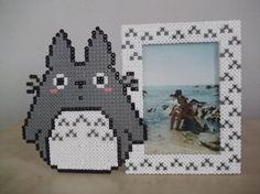 Totoro photo frame made of fuse beads with photo by capricornc5