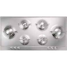 Smeg P106ES 100cm Polished Stainless Steel Piano Design 6 Burner Gas Hob with Evershine | Appliances Direct